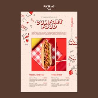 Modello di volantino verticale per cibo comfort per hot dog