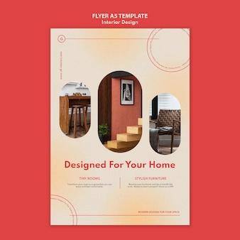 Modello di volantino verticale per l'interior design