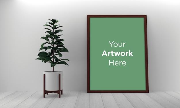 Cornice verticale posa sul pavimento mockup design con pianta verde