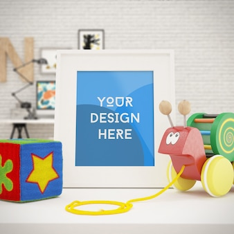 Foto con cornice verticale mock up con i giocattoli nella stanza dei bambini