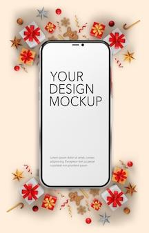 Immagine verticale di uno smartphone su uno sfondo di natale, mockup