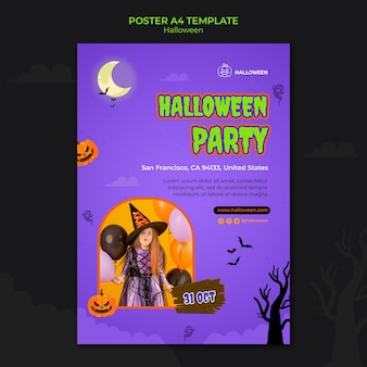 Modello di posta verticale per halloween con bambino in costume