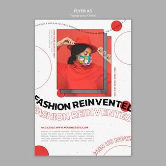 Poster verticale per le tendenze della moda con la donna che indossa la maschera per il viso
