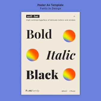 Poster verticale per caratteri e design