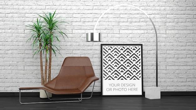 Mockup di poster verticale in interni eleganti in mattoni bianchi
