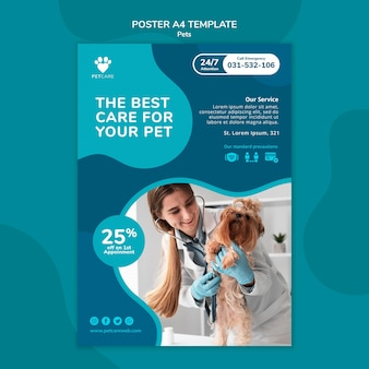 Poster verticale per la cura degli animali domestici con veterinario femmina e cane yorkshire terrier