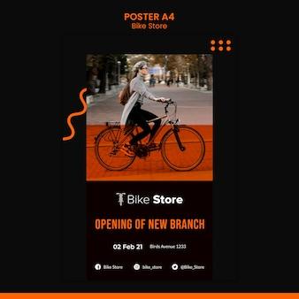 Modello di poster verticale per negozio di biciclette