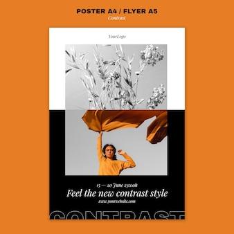 Modello di poster verticale per stile contrastante