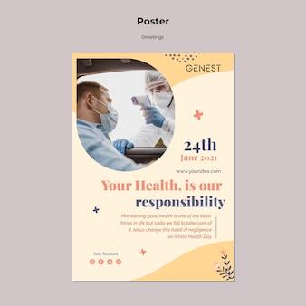Modello di poster verticale per l'assistenza sanitaria con persone che indossano una maschera medica