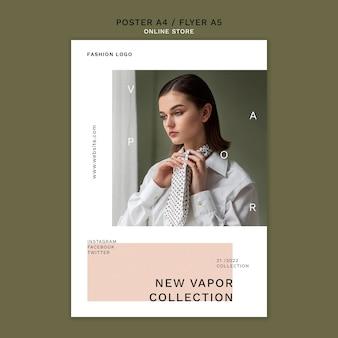 Modello di poster verticale per negozio di moda online minimalista