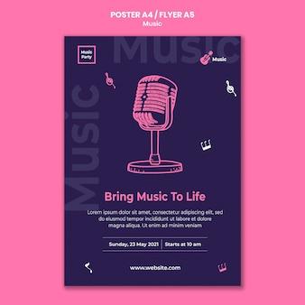 Modello di poster verticale per festa musicale