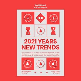Modello di poster verticale per la revisione e le tendenze del nuovo anno
