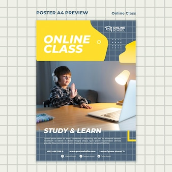 Modello di poster verticale per lezioni online con bambino