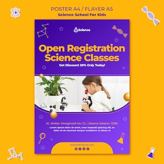 Modello di poster verticale per scuola di scienze per bambini