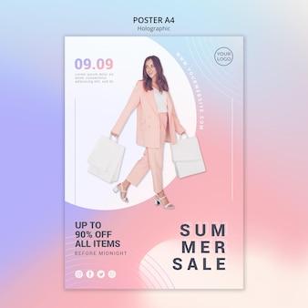 Modello di poster verticale per saldi estivi