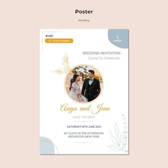 Modello di poster verticale per la cerimonia di matrimonio con la sposa e lo sposo