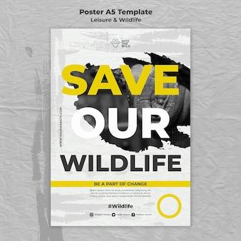 Modello di poster verticale per la protezione della fauna selvatica e dell'ambiente