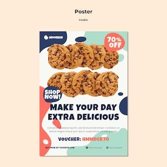 Modello di poster verticale con biscotti