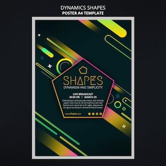 Modello di poster verticale con forme al neon geometriche dinamiche
