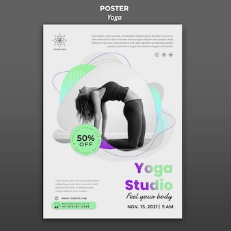 Modello di poster verticale per lezioni di yoga