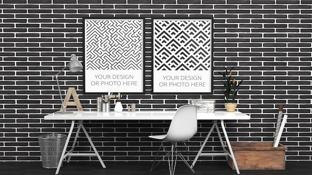 Poster verticale mockup in black brick contemporary home office