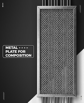 Griglia metallica 3d realistica verticale per composizioni