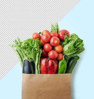 Colpo verticale di verdure fresche in un modello di sacchetto di carta riciclabile