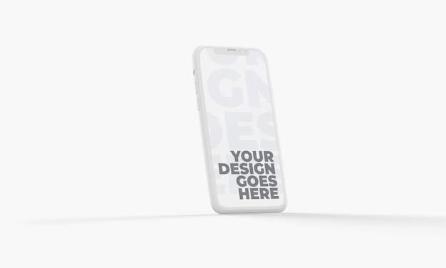 Mockup di smartphone 3d verticale di argilla bianca isolato