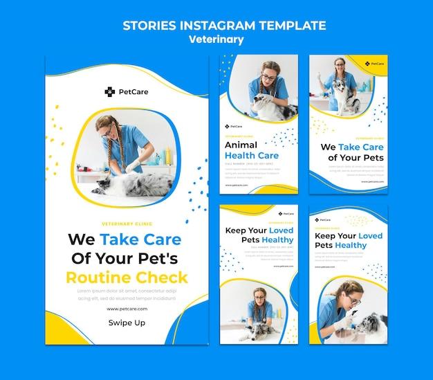 Modello di storie di instagram di clinica veterinaria