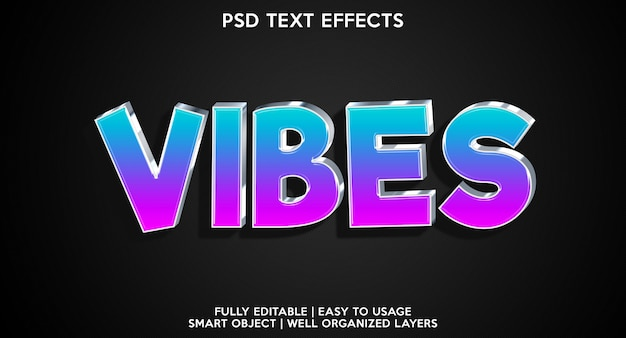 Vibes text effect modern