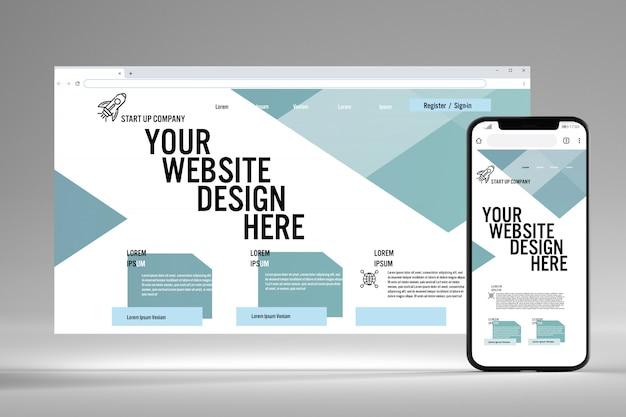 Visualizzazione di un browser e schermo mobile mock up