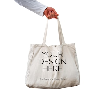 Vista di un mock up di una borsa a mano