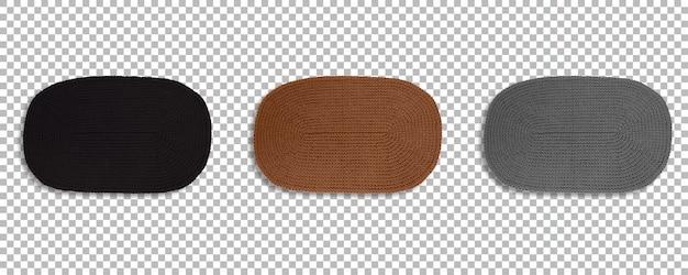 Vista del set di tappeti ovali colorati per il posizionamento di lastre isolate con trasparenza.