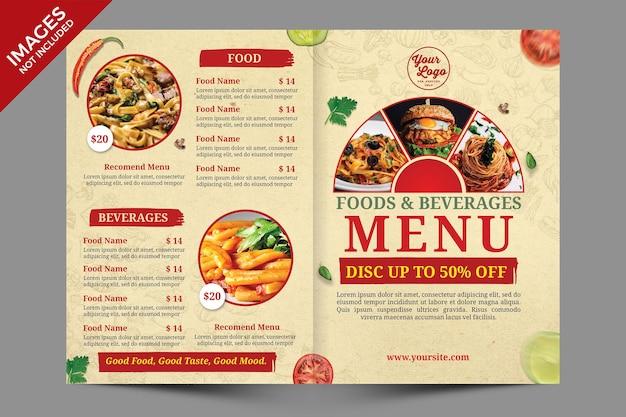 Modello di copertina del menu di cibo bifold vintage psd premium