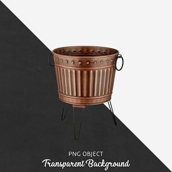 Vaso in bronzo vintage su trasparente