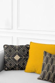 Federa per cuscino vintage in cotone mockup psd in stile art déco living concept