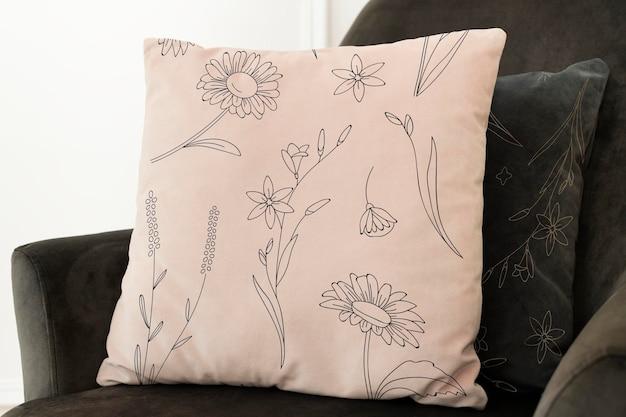 Federa per cuscino vintage in cotone mockup psd con motivo floreale living concept