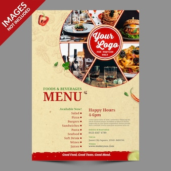 Modello di copertina del menu di cibo vintage premium psd template