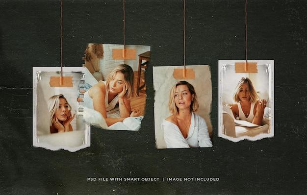 Set di cornici per foto strappate da appendere vintage moodboard mockup