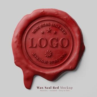 Sigillatura lettera vintage classica candela rossa gocciolante sigillo di cera timbro logo mockup