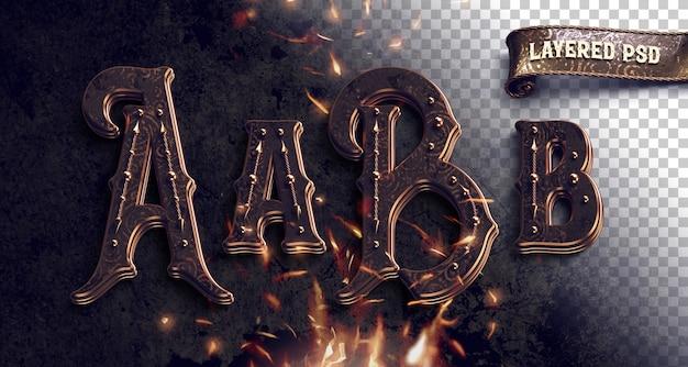Alfabeto metallico vintage con fuoco