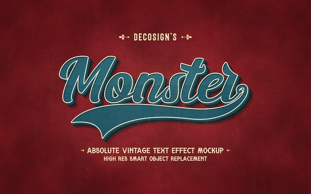 Mockup effetto testo mostro vintage