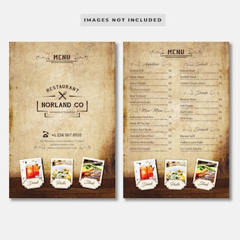 Modello di menu ristorante vintage