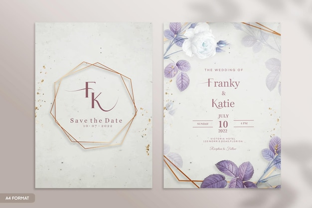 Modello di invito a nozze vintage con fiore viola