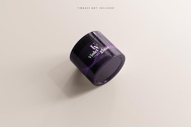 Mockup di vasetto cosmetico in vetro viola