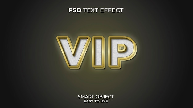 Modello effetto testo vip con colori oro e bianco