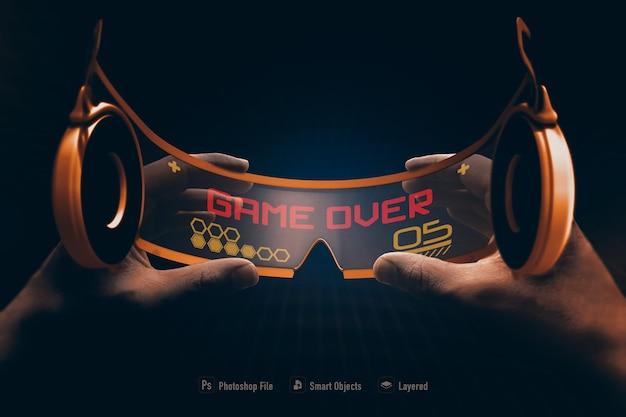 Modello di occhiali virtuali isolato su uno sfondo di colore morbido