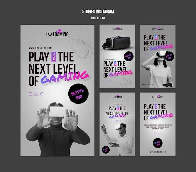 Modello di storie di instagram di gioco di realtà virtuale