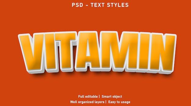 Modello di stile effetto testo vitamina