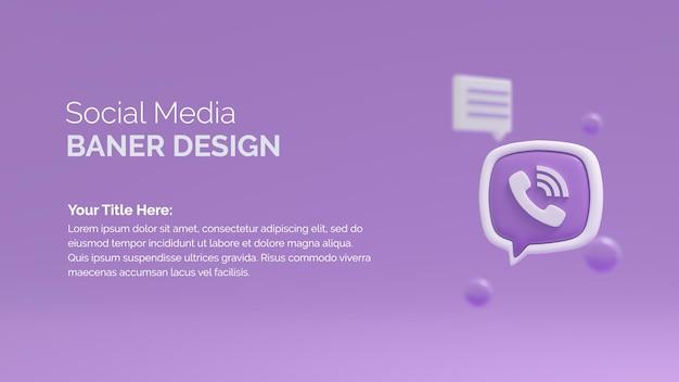 Icona del logo viver sullo sfondo del rendering 3d del pulsante